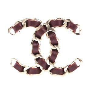 Gold Dark Red Burgundy Cc Leather Brooch Pin Charm